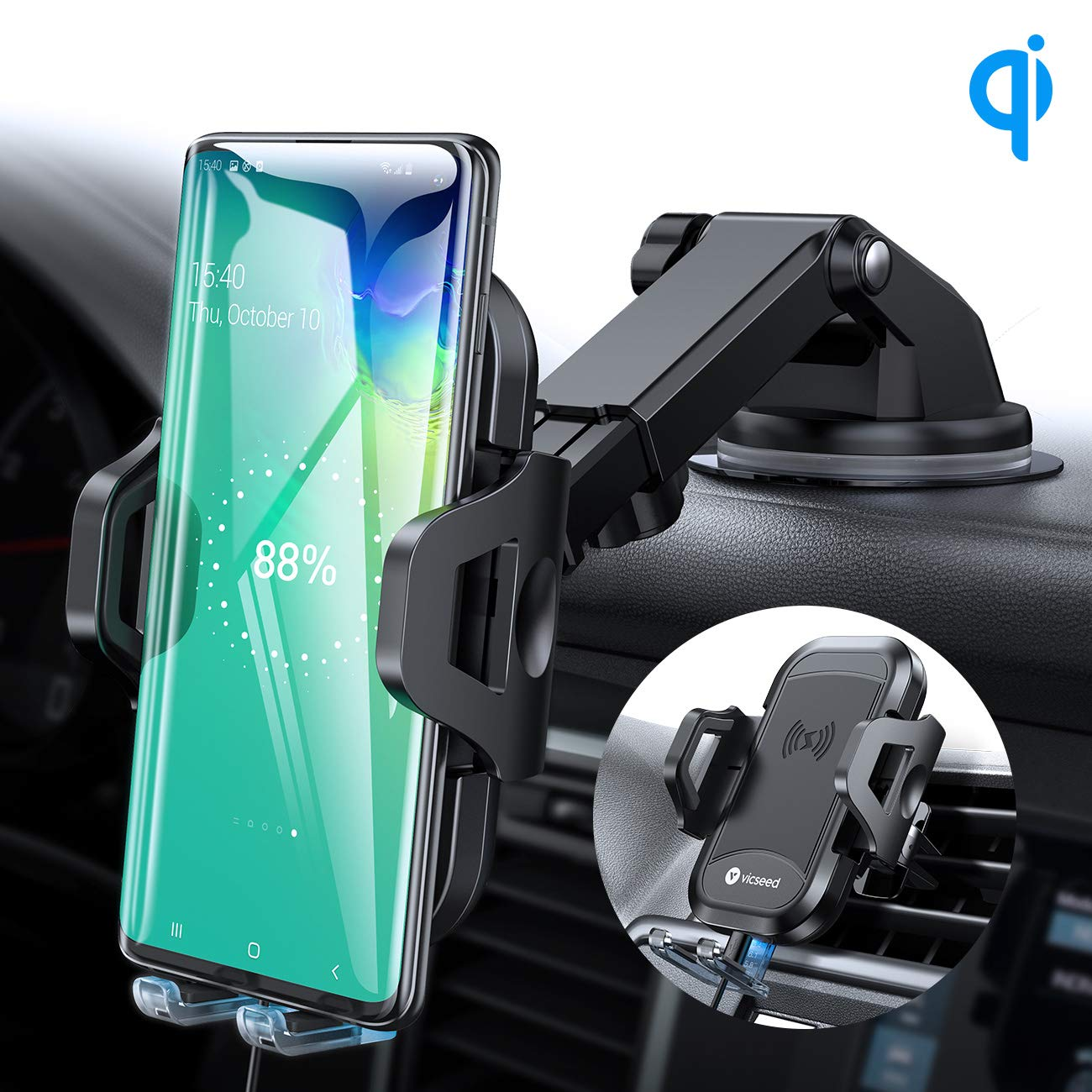 VICSEED 3-in-1 Wireless Car Charger Mount Qi Fast Charging 10W 7.5W Dashboard Windshield Air Vent Phone Holder for Car Mount Fit for iPhone 11 Pro Max XS X XR Samsung Note9 S10 S9 LG Phones etc. by VICSEED