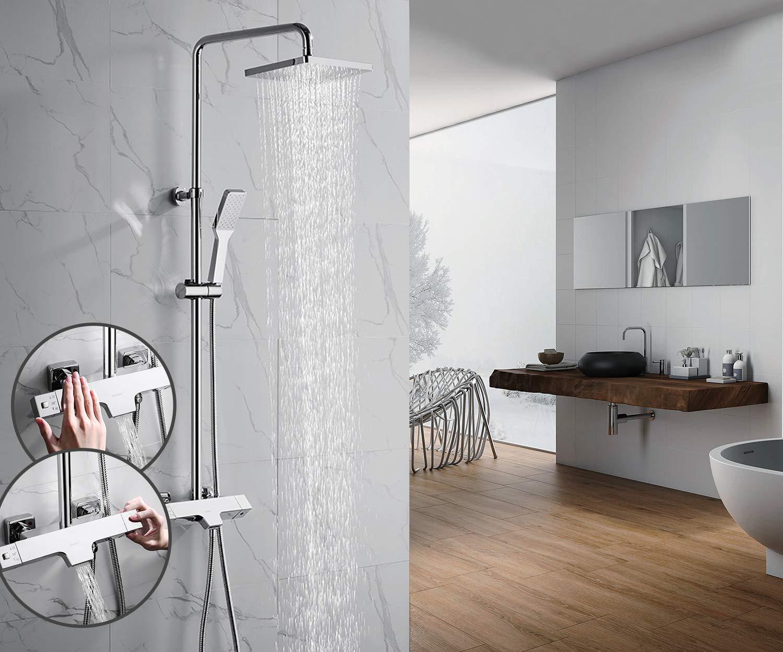 Oleah bagno miscelatore termostatico per doccia sistema doccia a parete per doccia con soffione, in nichel spazzolato e palmare doccia rubinetti