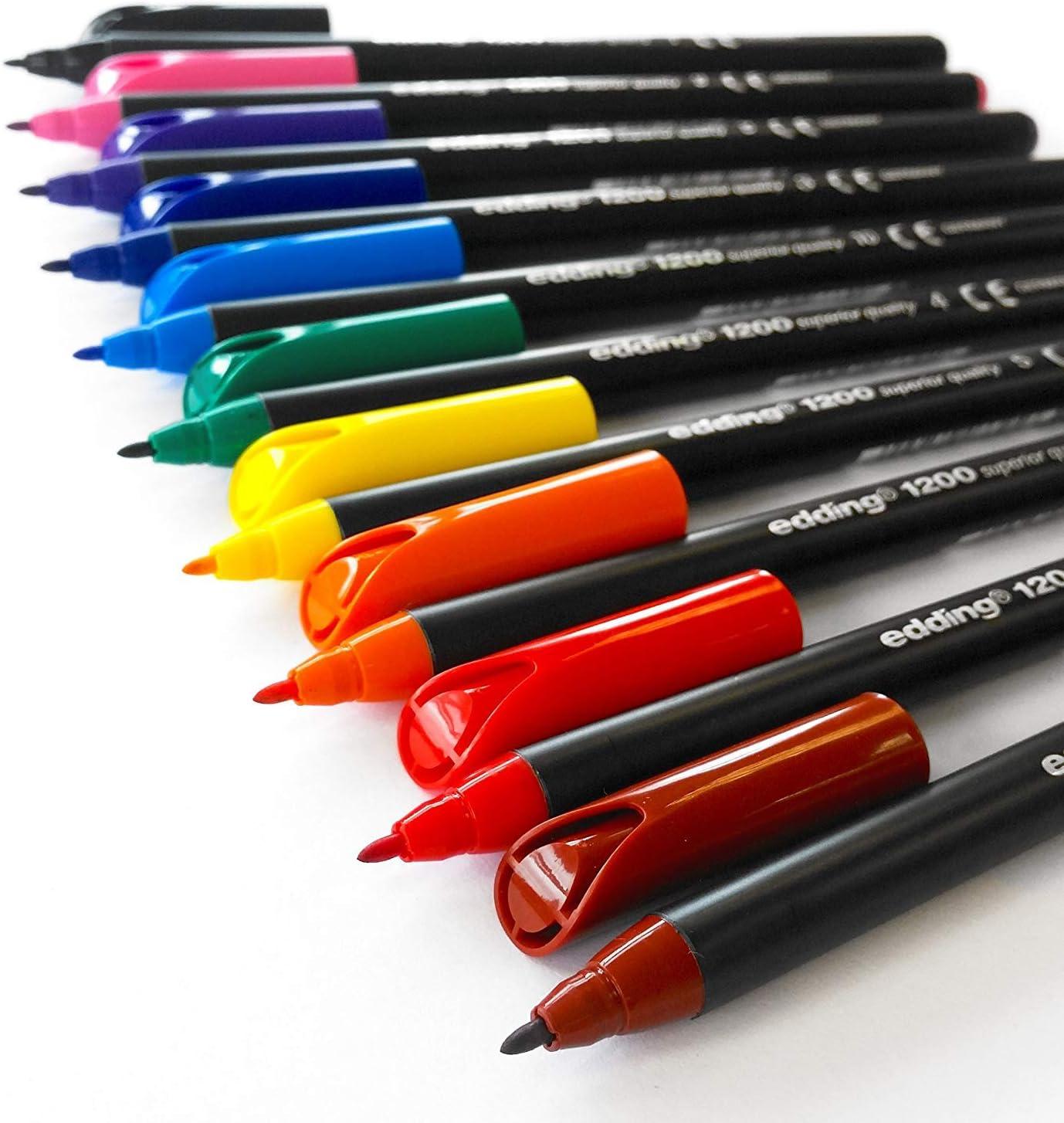 Edding 1200 - Bolígrafos con punta de 1.0 mm, 10 unidades, Multicolor: Amazon.es: Oficina y papelería