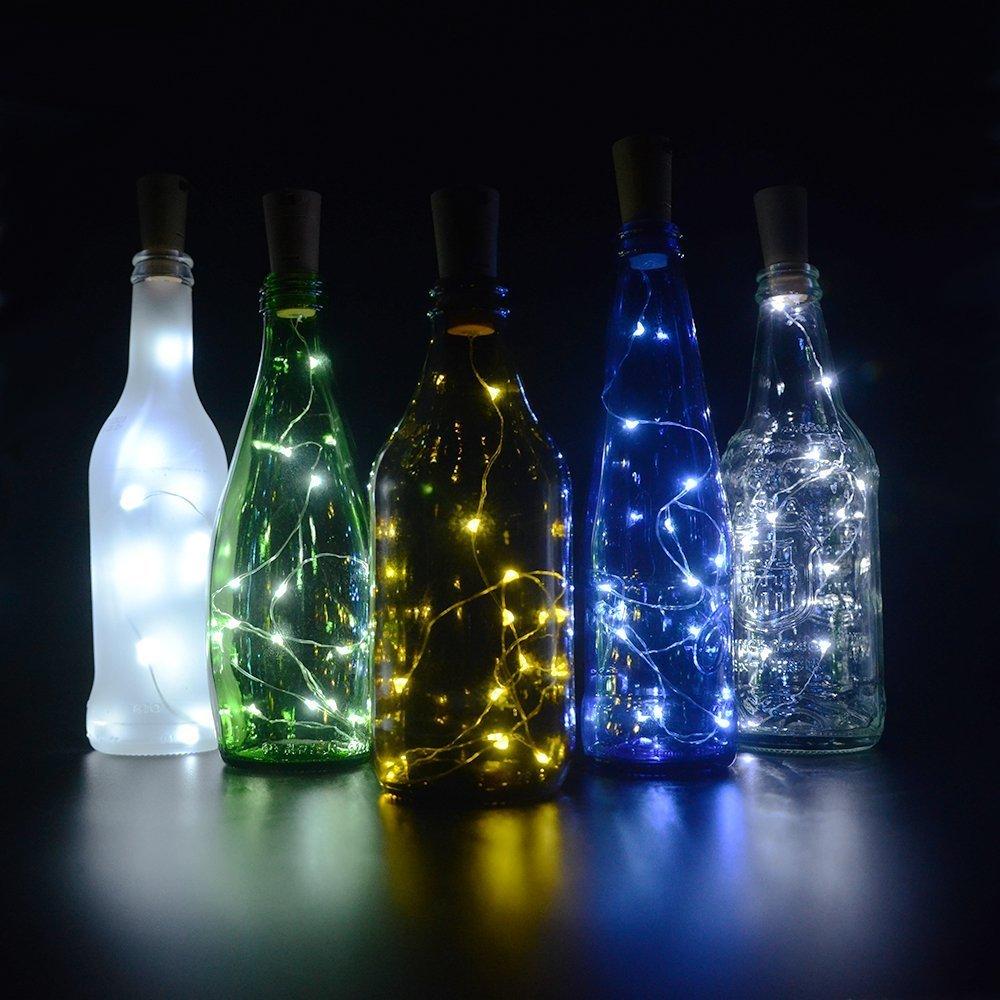 4 pcs Botellas con Luz, 10 LED Solar Corcho con Luz, Luz Botella para Fiesta Bodas Festival Conciertos Decoración ÁRboles Navidad (Blanco): Amazon.es: ...