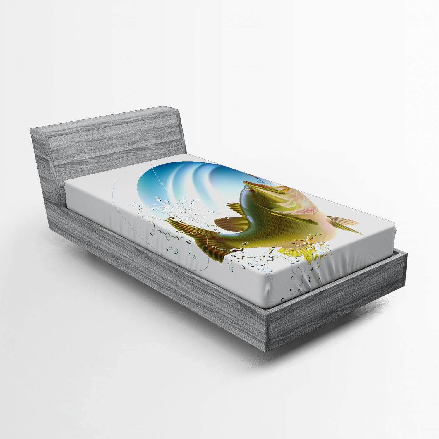 Ambesonne Fishing Fitted Sheet, Largemouth Sea Bass Catching a Bite in Water Spray Motion Splashing Wild Image, Soft Decorative Fabric Bedding All-Round Elastic Pocket, Twin Size, Green Blue