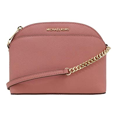 c87b3cfecb3f Michael Kors Emmy Medium Cindy Dome Crossbody Brown Rose Pink:  Amazon.co.uk: Shoes & Bags