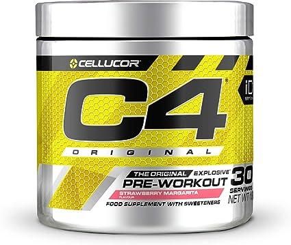 C4 Original - Suplemento en polvo para preentrenamiento - Margarita de fresa   Bebida energética para antes de entrenar   150 mg de cafeína + beta ...