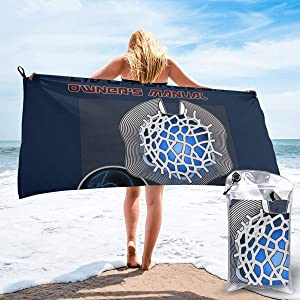 DwayneDennis Cortical Stack Owners Manual Altered Carbon Microfiber Large Beach Towel, Convenient and Foldable, Equipped with Carabiner for Easy Storage, Soft Bath Towel, Quick-Drying Shower Towel