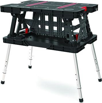 Keter 17199331 mesa de trabajo plegable con patas ajustables ...
