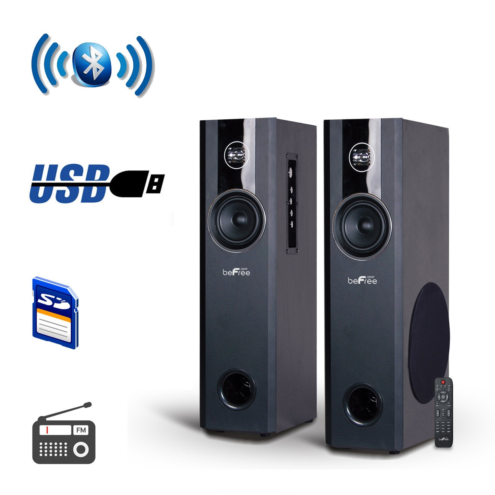 BEFREE SOUND 2.1 Channel Bluetooth Powered Black Tower Speakers with Optical Input