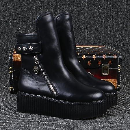 RoseG Mujer Zapatos Punk Creepers Plataforma Botas Black