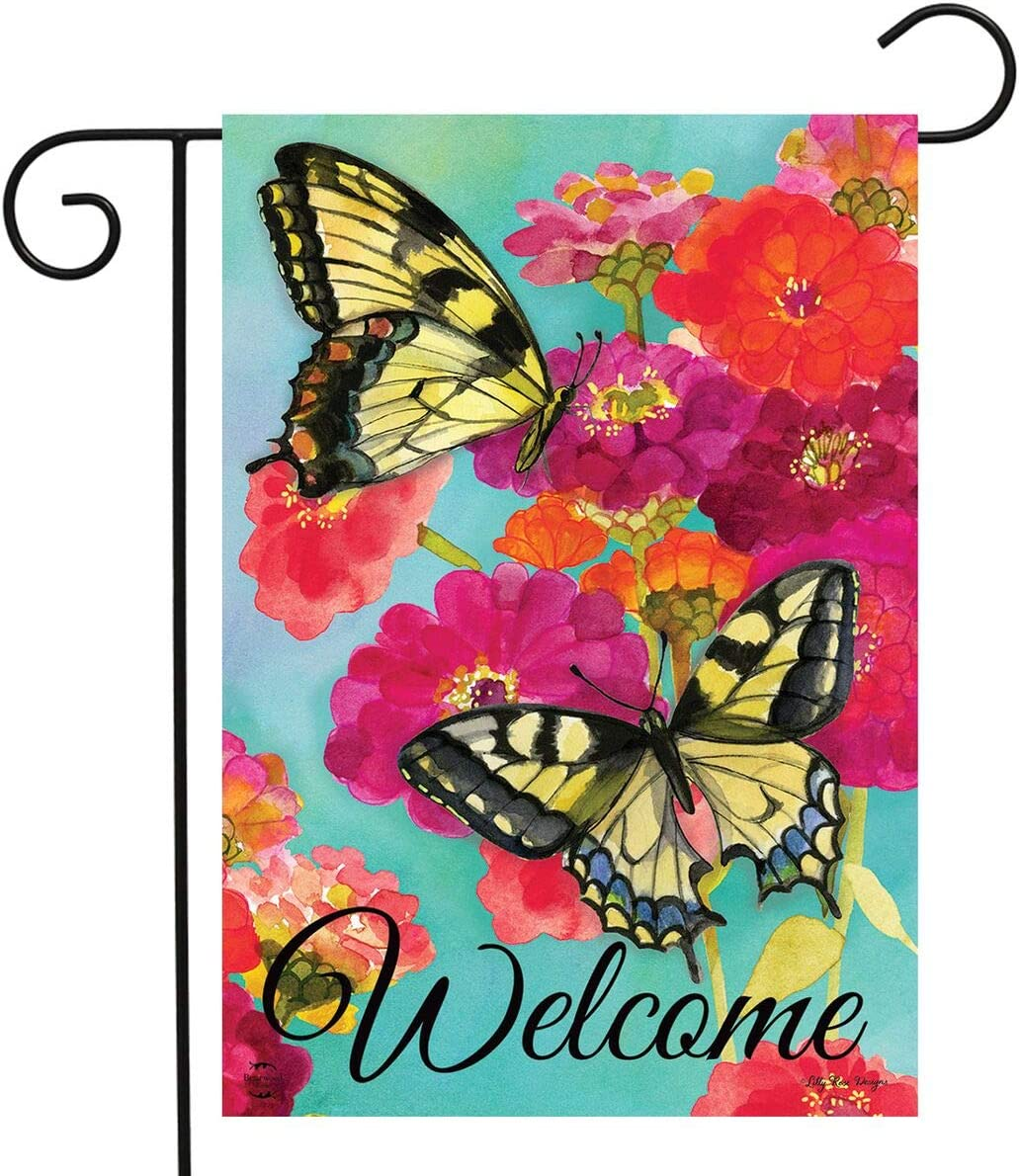 "Briarwood Lane Morning Butterflies Spring Garden Flag Welcome Floral 12.5"" x 18"""