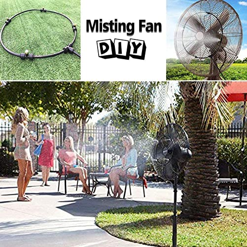 Outdoor Misting Cooling System Outdoor Misters Cooling Kit Misting System Misting Cooling System Water Irrigation Fan Misting Mister Kit for Patio Garden Greenhouse Trampoline 59, White