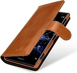 StilGut Talis Case Portafoglio, Custodia in Vera Pelle Cover per Sony Xperia XZ2 con Chiusura Magnetica, Cognac