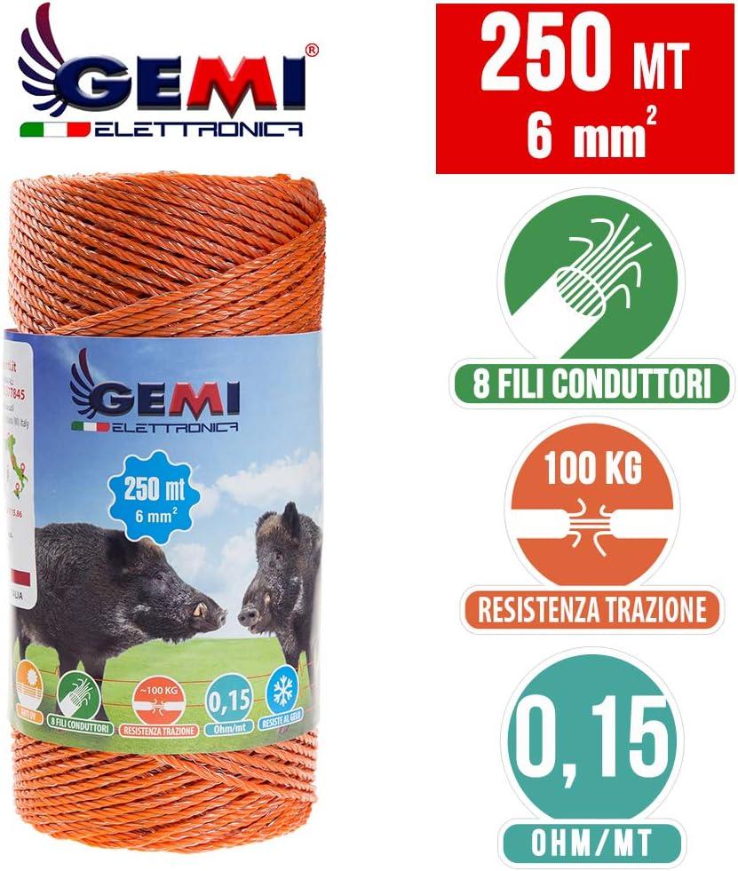 Gemi FIL DE CL/ÔTURE /ÉLECTRIQUE cl/ôture /électrifi/ée 250 MT 6 mm/² pour animaux chevaux chiens sangliers vaches porcs poules