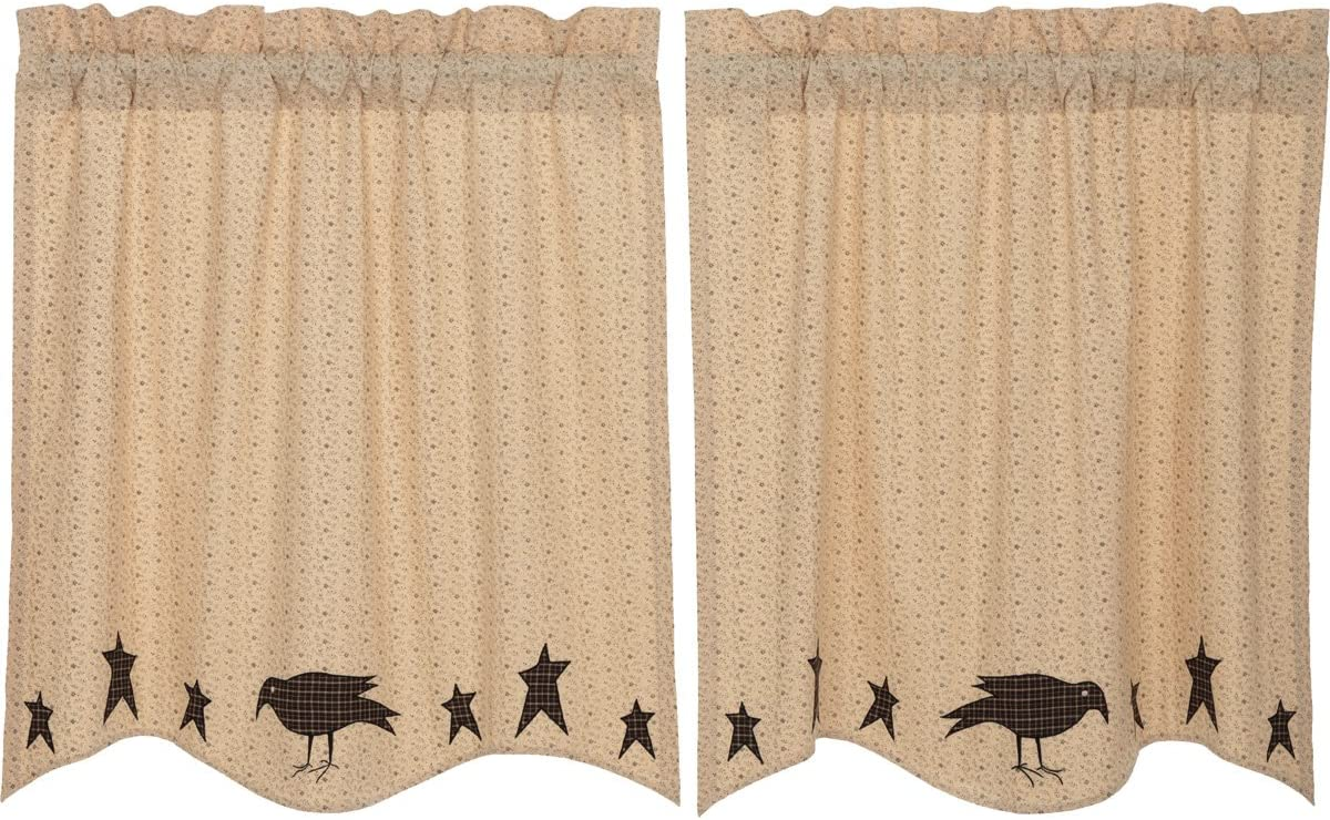 VHC Brands Primitive-Kitchen Curtains Prim Grove Crow-Rod Pocket Cotton Appliqued Star 36x36 Tier Pair, Dark Creme Tan