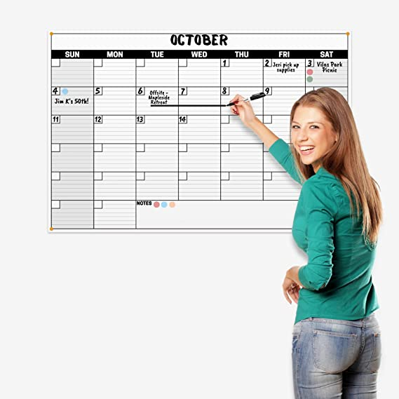 Dunwell 24x36 Dry Erase Calendar - (Black) Undated Large Dry Erase Calendar for Wall, Reversible Reusable Monthly and Weekly Dry Erase Calendar, Wipe Off Calendar Poster Shipped Rolled Not Folded