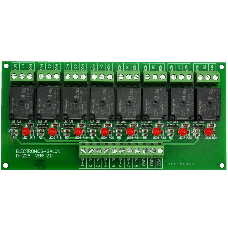 FidgetKute 8 Channel 10Amp SPDT Power Relay Module Board, DC12V Version Show One Size by FidgetKute