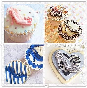 1pcs Nueva Morden niña silicona zapatos de tacón alto molde de fondant para decorar cupcakes, decoración de pasteles, Candy. Diva moldes y más: Amazon.es: ...