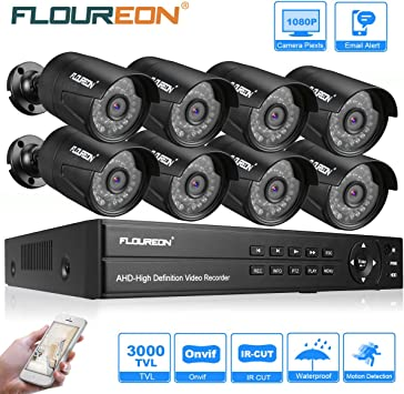 1TB HDD Security Kit FLOUREON 8CH 1080P AHD DVR Outdoor 3000TVL 2.0MP Camera