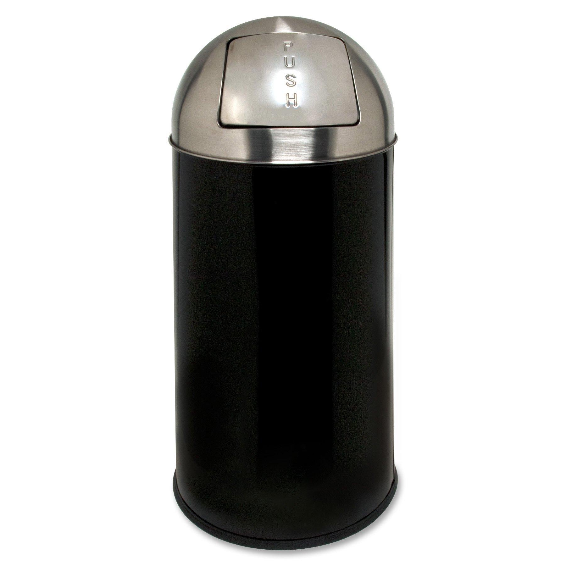 Genuine Joe GJO58886 Classic Round Top Waste Receptacle, 12 gallon Capacity, Black/Silver