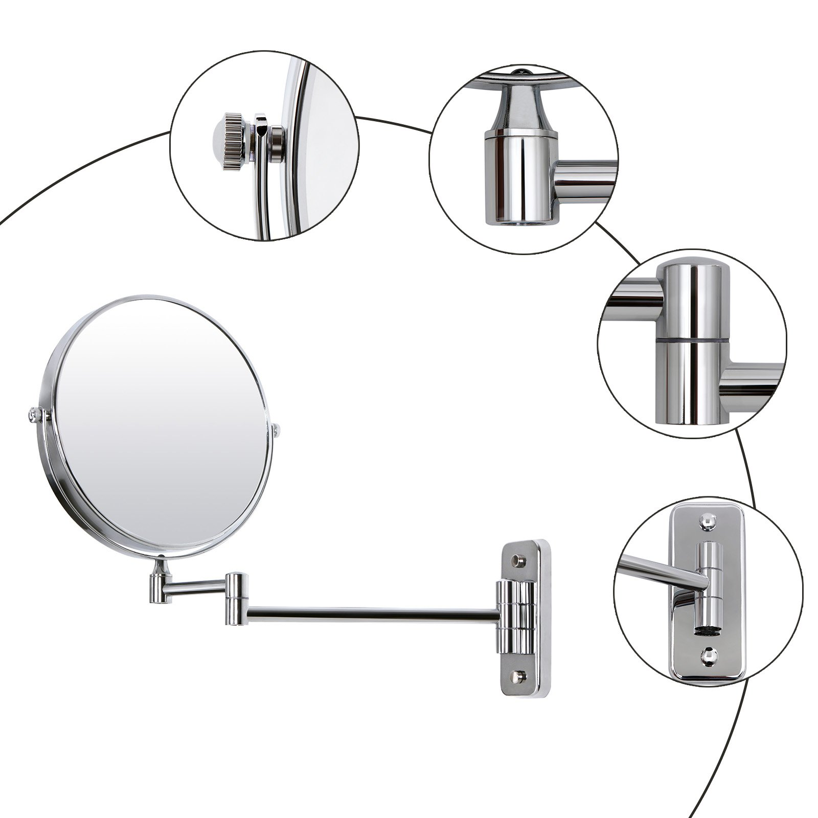 SONGMICS 8'' Two-Sided Wall Mount Makeup Mirror 360° Swivel Extendable 7x Cosmetic Mirror UBBM713 by SONGMICS (Image #4)