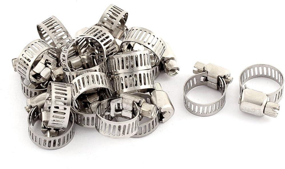 Aexit 10-16mm r/églable Range en acier inoxydable perfor/é le collier 20 pcs 125S717