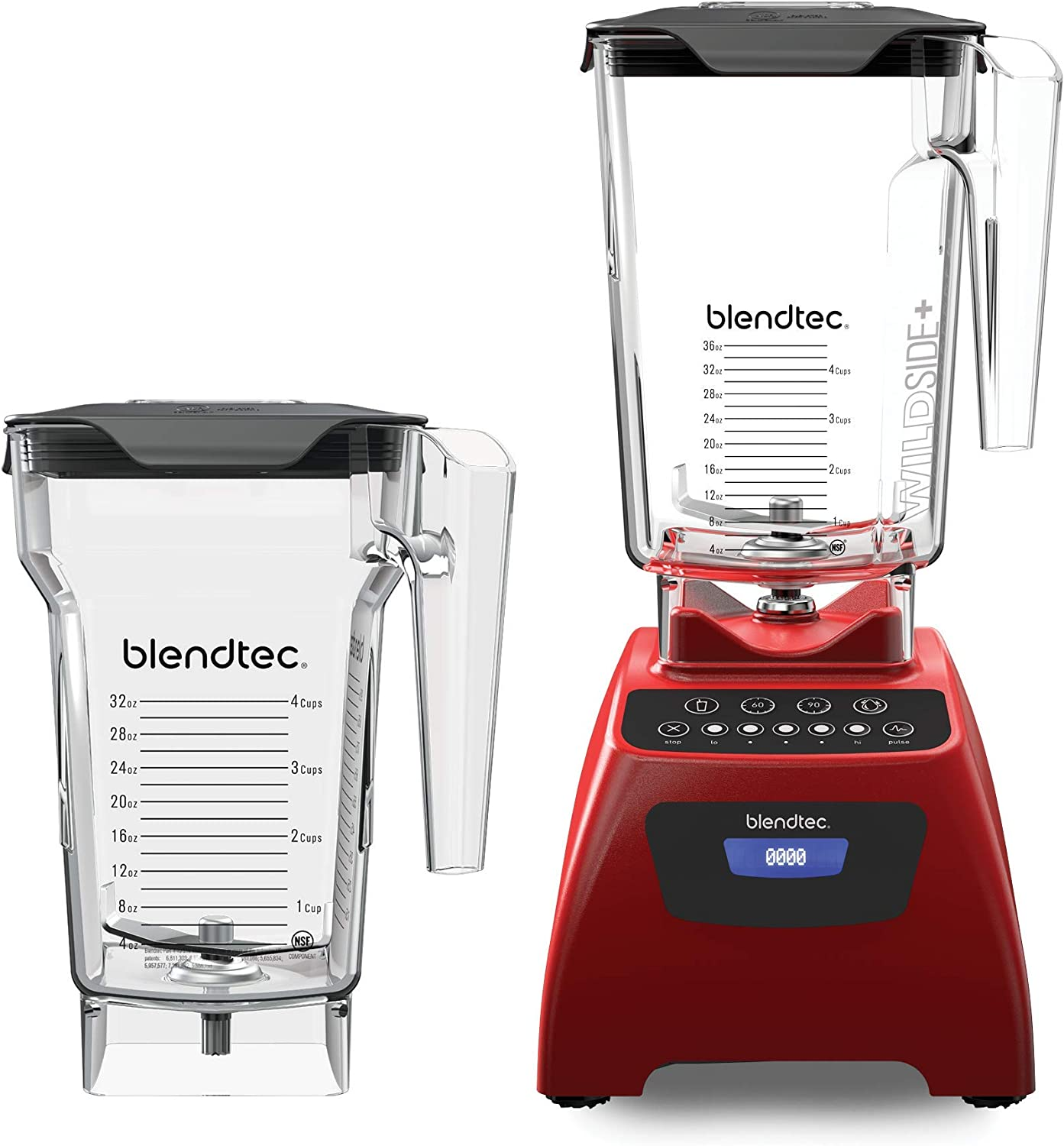 Blendtec Classic 575 Blender WildSide (90oz) and FourSide Jar (75 oz) BUNDLE-Professional-Grade Power-Self-Cleaning-4 Pre-programmed Cycles-5-Speeds-Poppy, 90 Oz, Poppy Red