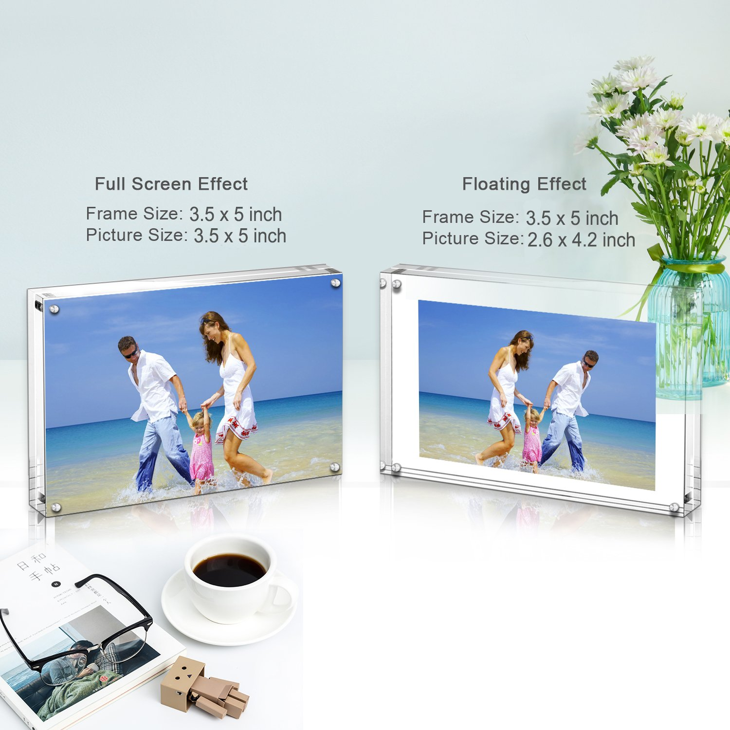 Acrylic Photo Frames,3.5x5\'\' Double Sided Magnetic Picture Frame, Desktop Frameless Postcard Display