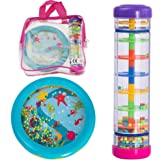 Tulatoo Rainmaker and Ocean Drum - Musical Instrument Toy Shakers And Gift Set For Babies And Toddlers