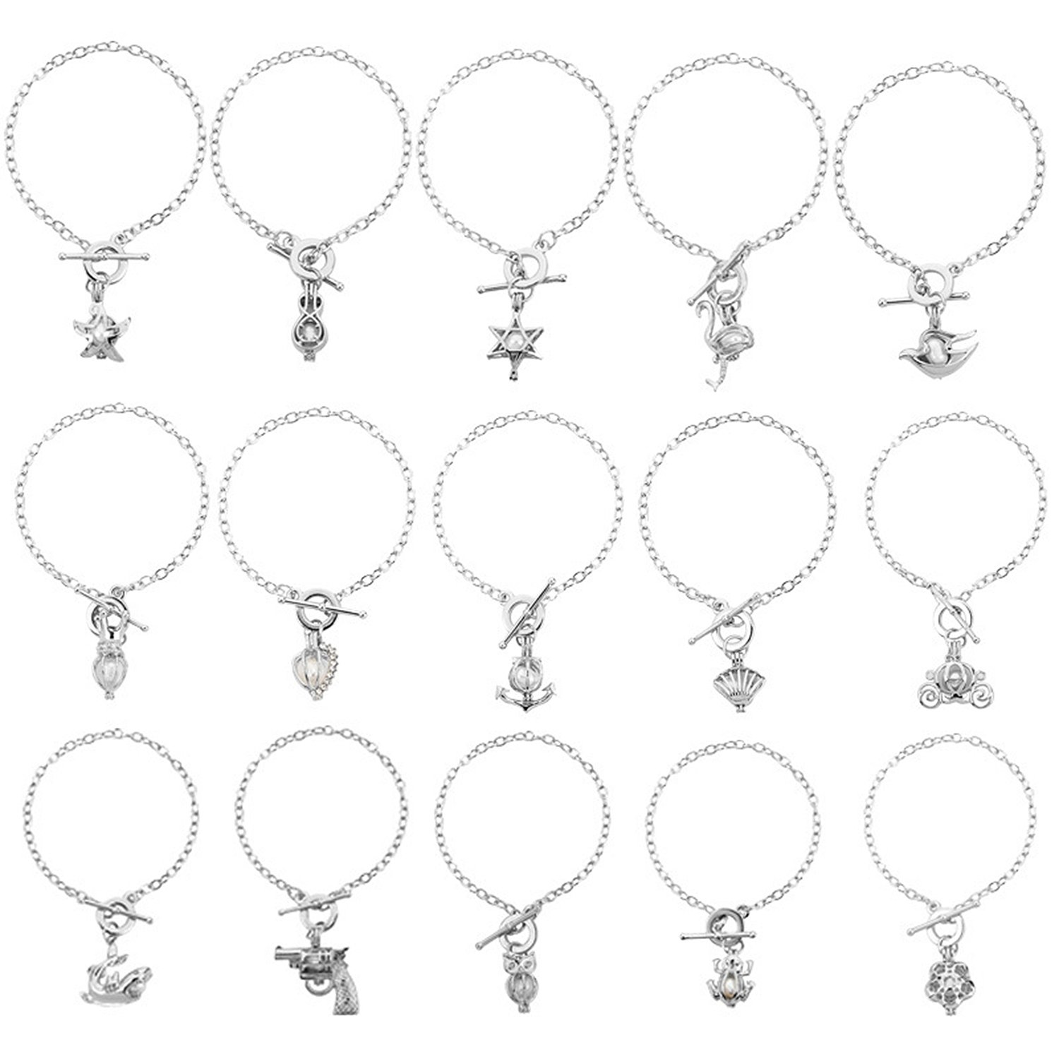 HENGSHENG 15 PCS Bracelet Sets Pearl Oyster Fitting Locket with 1 PC Real Freshwater Pearl in Charm Pendant (cpsl004) (15 PCS)