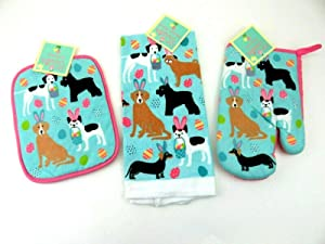 Mainstream Easter Kitchen Towel, Oven Mitt, Pot Holder Set Dogs Bunny Ears