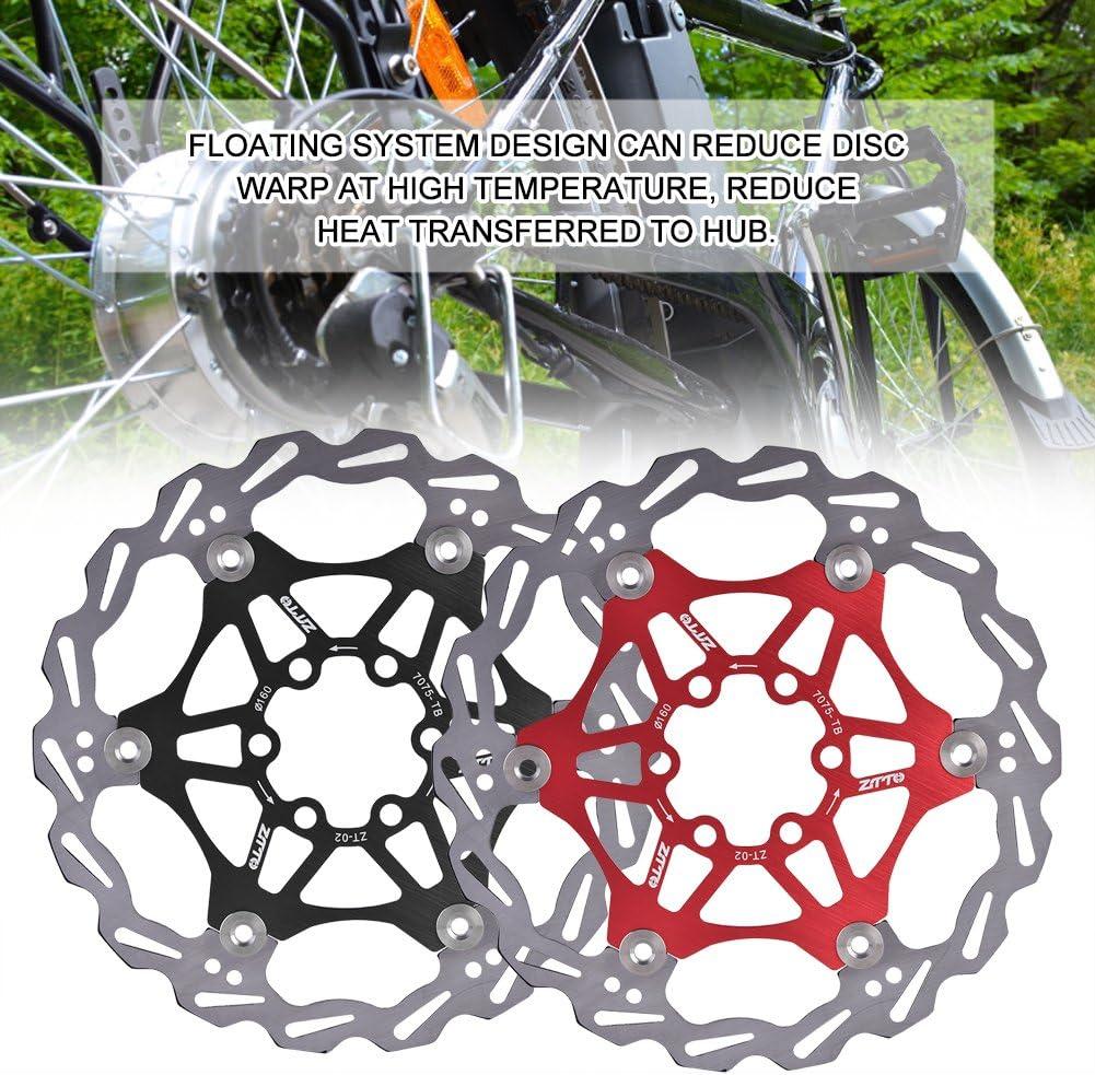 Rotor de Freno de Disco Flotante Bicicleta de Ciclismo 160 mm Rotor de Freno de Disco MTB de Carretera Bicicleta de Monta/ña Rotores Traseros de Bicicleta 6 Pernos Pastilla de Freno Rojo Negro