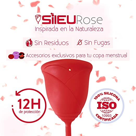 Copa Menstrual Sileu Cup Rose - Modelo de iniciación sencillo de colocar - Ayuda a prevenir infecciones urinarias y la cistitis - Talla L, ...