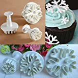 Cortadores para fondant en forma de copo de nieve para molde plano Yous, 3 piezas.