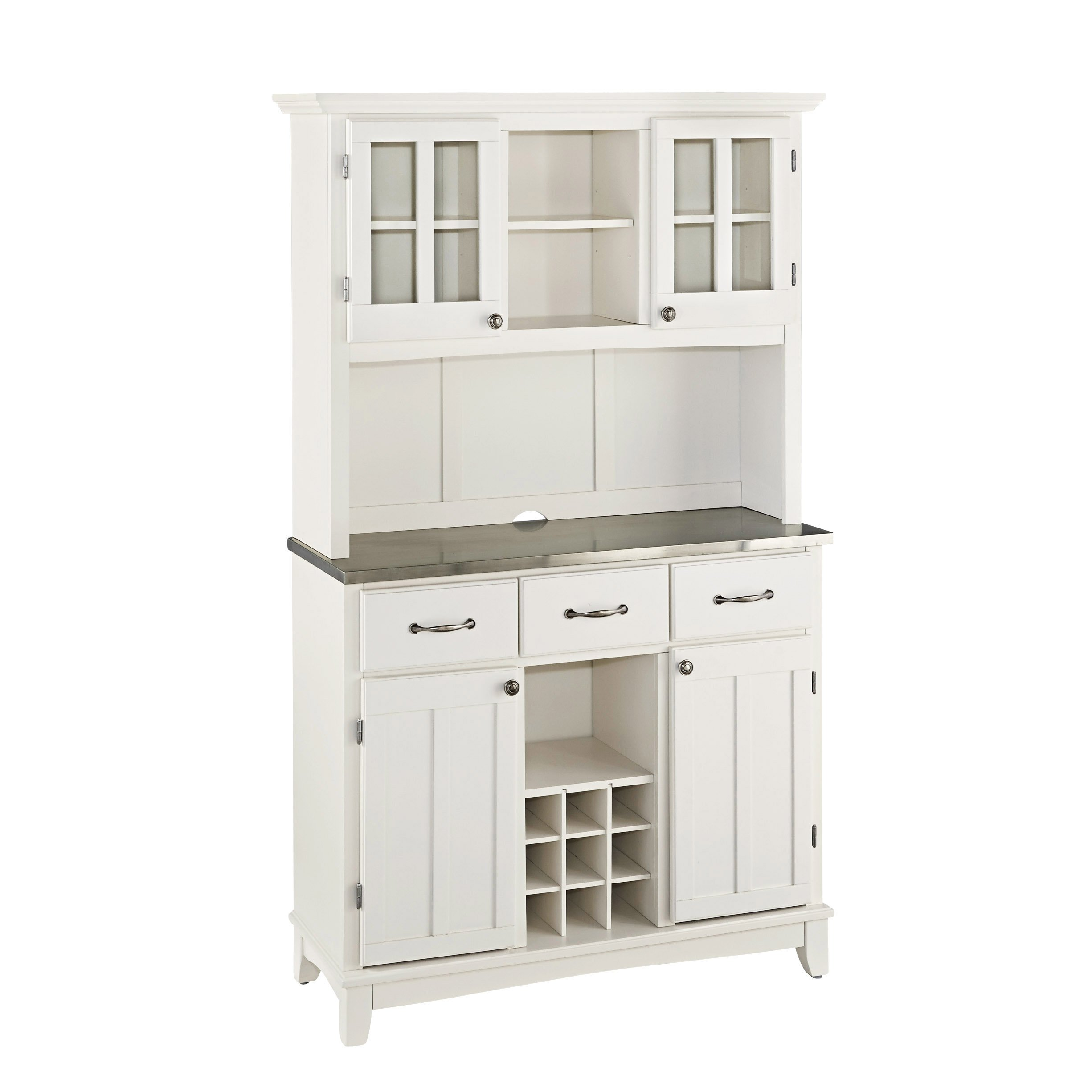 Home Styles 5100-0023-22 5001 Series Stainless Steel Top Buffet Server and Hutch, White Finish
