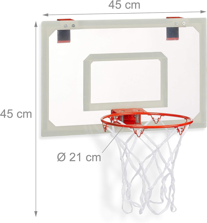 Relaxdays Canasta Baloncesto para Habitación, Mini Basketball con ...