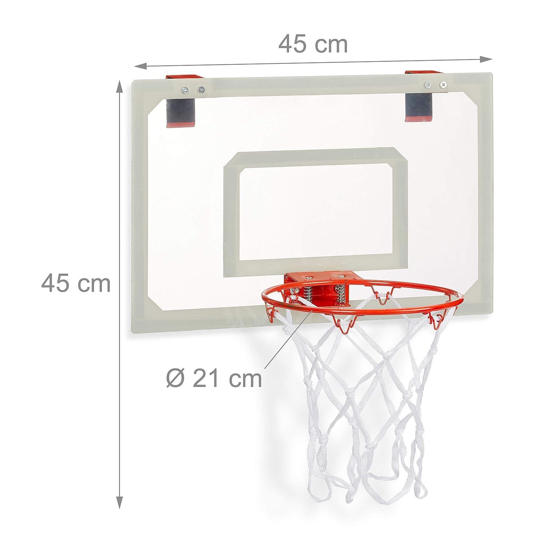 Baloncesto Para Colgar En La Puerta Juego Con Pelota Y Bomba De Aire Relaxdays Cesta De Baloncesto Unisex Para Jóvenes Alto X Ancho X Profundidad Aprox 45 X 45 X 33 Cm