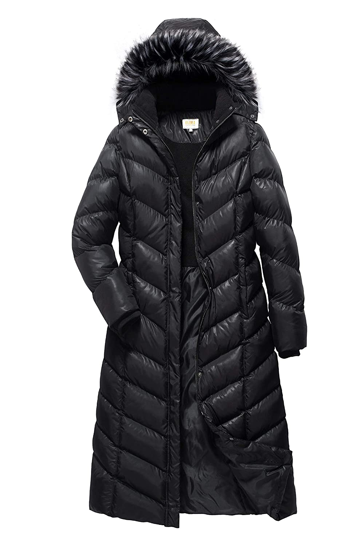 ELORA Womens Maxi Puffer Full Length Coat with Fur Trim Removable Hood
