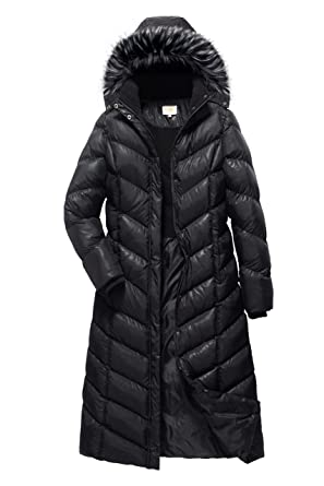 726eedc0420 ELORA Women s Padded Puffer Full Length Coat with Fur Trim Removable Hood