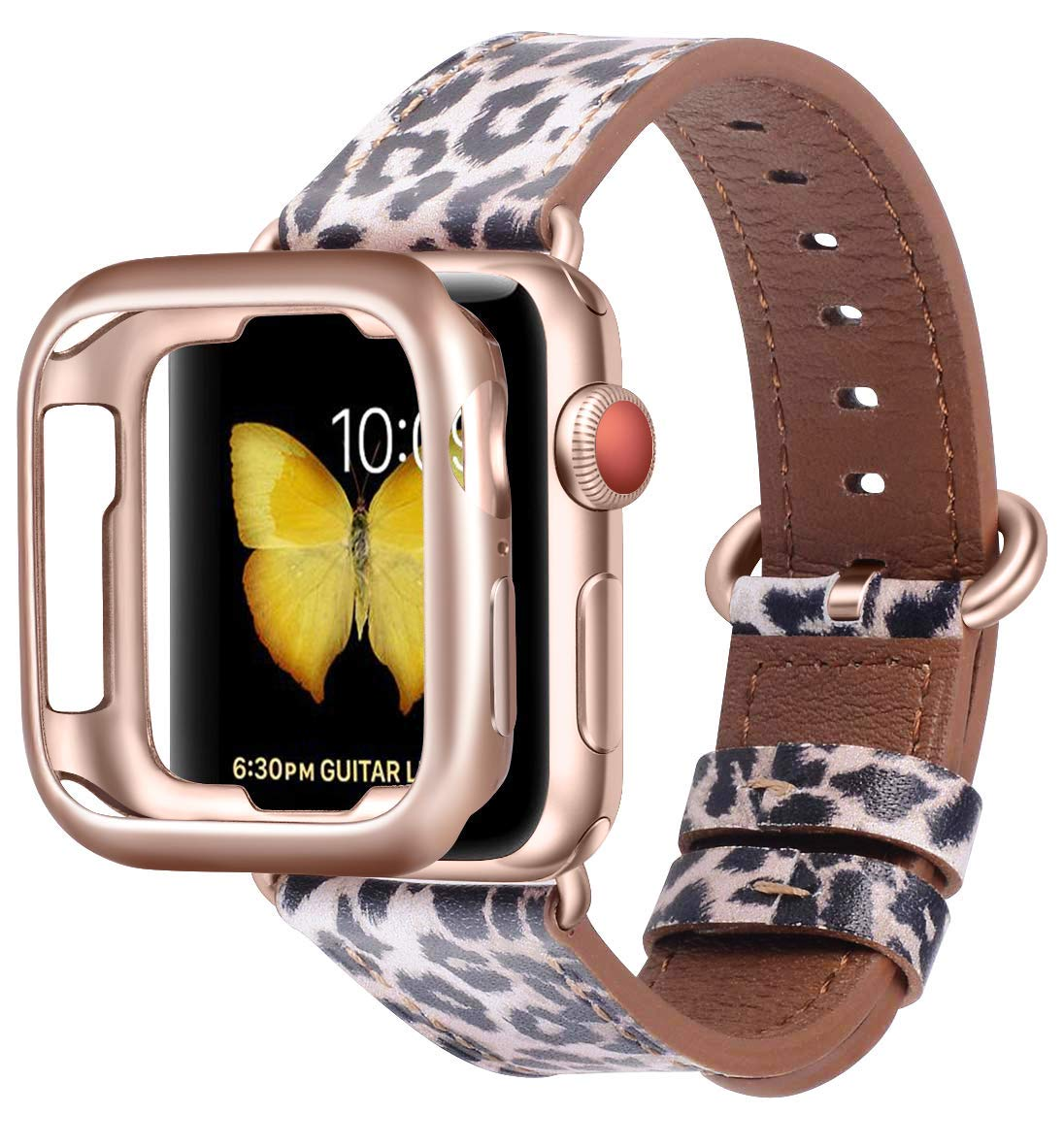 JSGJMY Compatible with Apple Watch Band 38mm 40mm with Case,Women Genuine Leather Strap with Rose Gold Adapter and Buckle(The Same Color as Series 4/3 Gold Aluminum) for iwatch Series 4/3/2/1, Leopard by JSGJMY