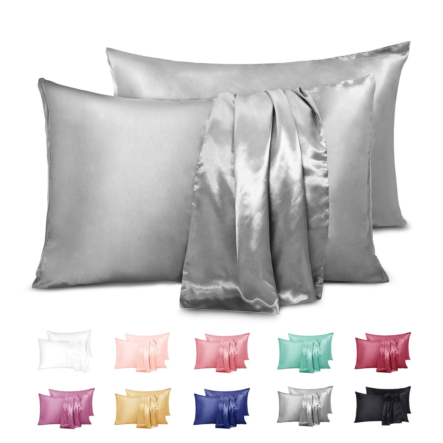 Duerer Satin Pillowcase 2 Pack for Hair and Skin, Soft Pillow Cases Covers with Envelope Closure, Standard/Queen/King Size(20''x30'',Gray)