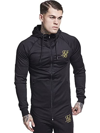 Sik Silk Men's Zonal Zip Logo Track Top Hoodie, Black: Amazon.co.uk:  Clothing