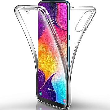 AROYI Funda Samsung Galaxy A50 Transparente,Silicona Doble Cara Carcasa 360°Full Body Protección,Anti-Arañazos Suave Case para Samsung A50