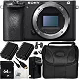 Sony Alpha a6500 Mirrorless Digital Camera (Body Only) 64GB Bundle 9PC Accessory Kit - Includes 64GB Memory Card + 2 Replacement FW-50 Batteries + AC/DC Rapid Home & Travel Charger + More