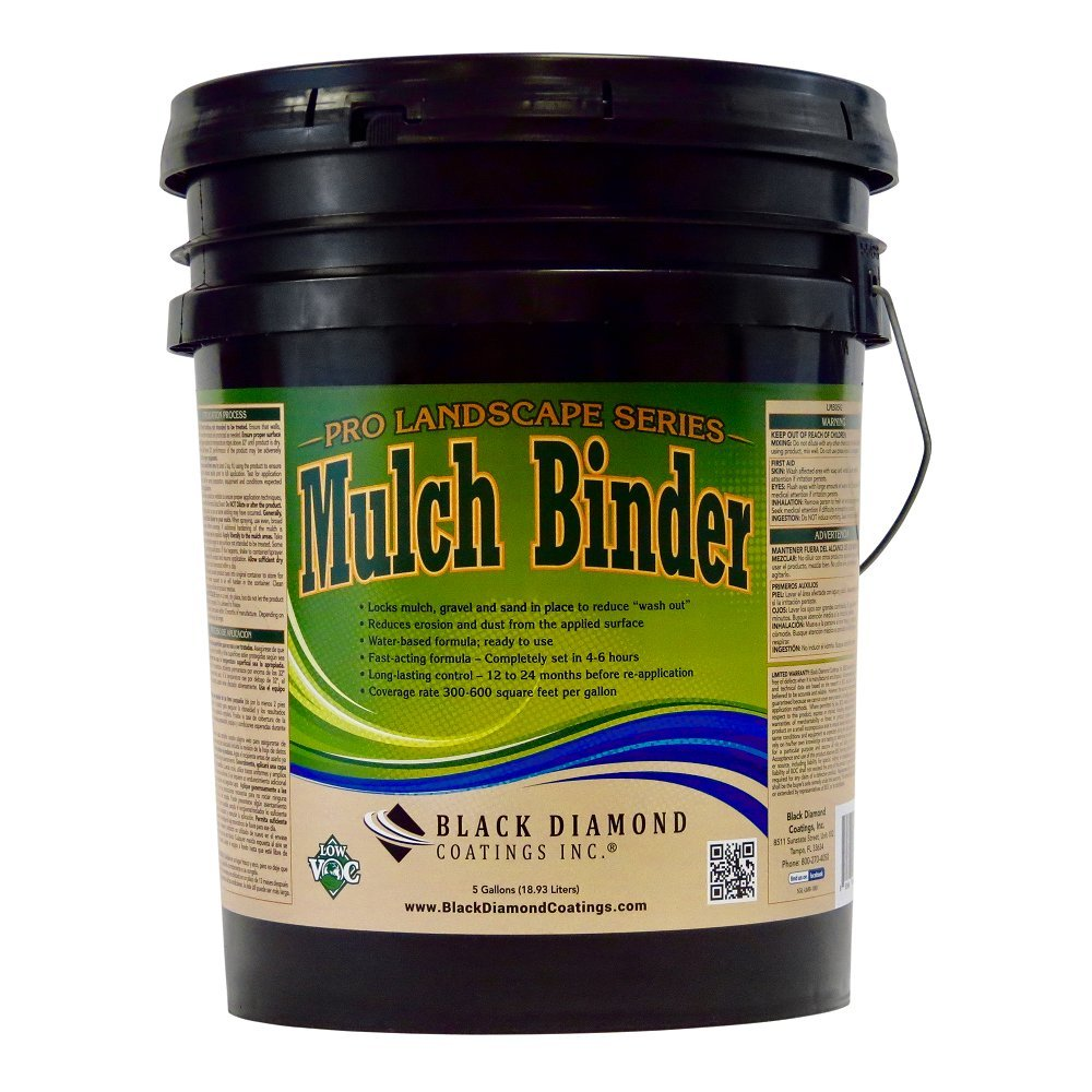 Mulch Binder Pro Landscape Series Adhesive Ready To Use - Locks Mulch, Pea Gravel. Water-Based Fast Acting Formula For Long Lasting Landscape Edging by BLACK DIAMOND COATINGS INC. (5 Gallon)