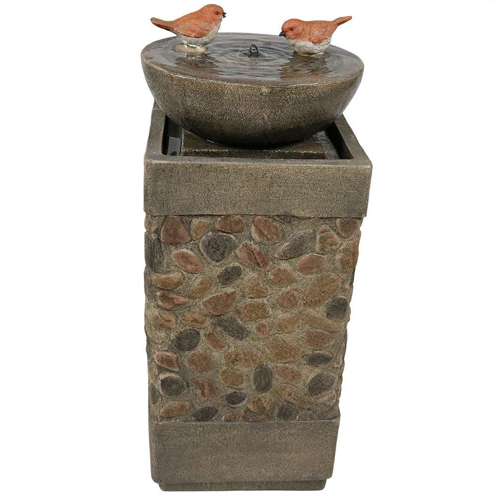 Sunnydaze Birdbath Basin on Pedestal Outdoor Garden Water Fountain, 29 Inch