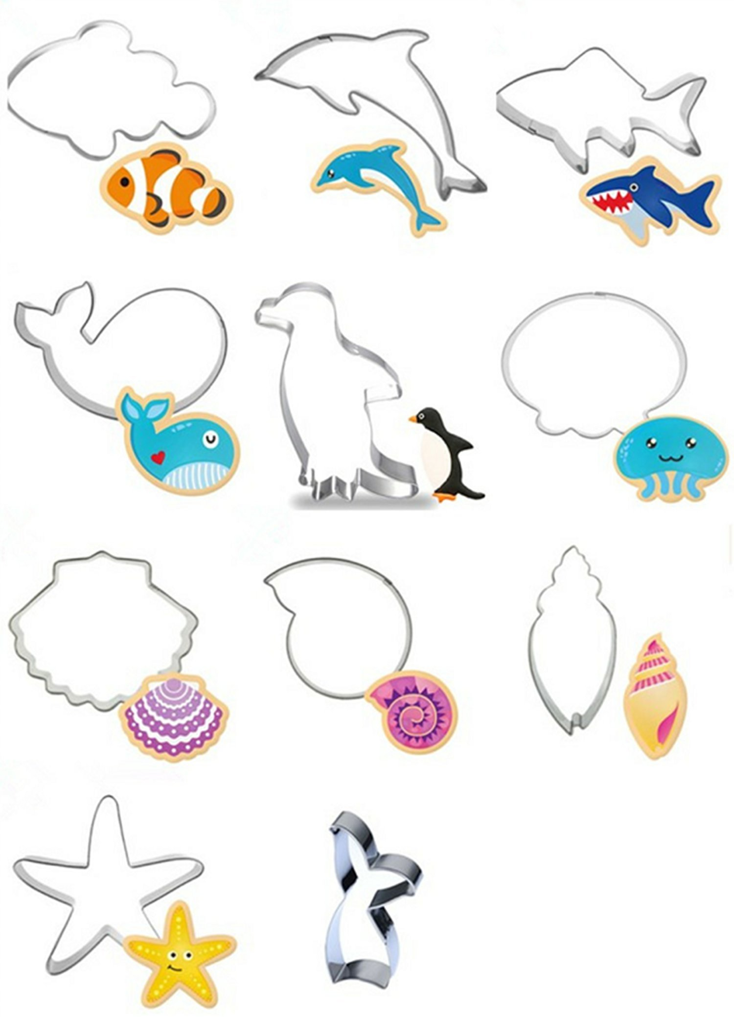 Efivs Arts 11 Pcs Fish Dolphin Penguin Starfish Conch Octopus Shark Meraid Tail Marine Animal Stainless Steel Cookie Cutter Fondant Cutter Set Cup Cake Decorating Tools