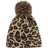 Supstar Women Girls Fashion Winter Beanie hat with Leopard Pattern and Fur Pom