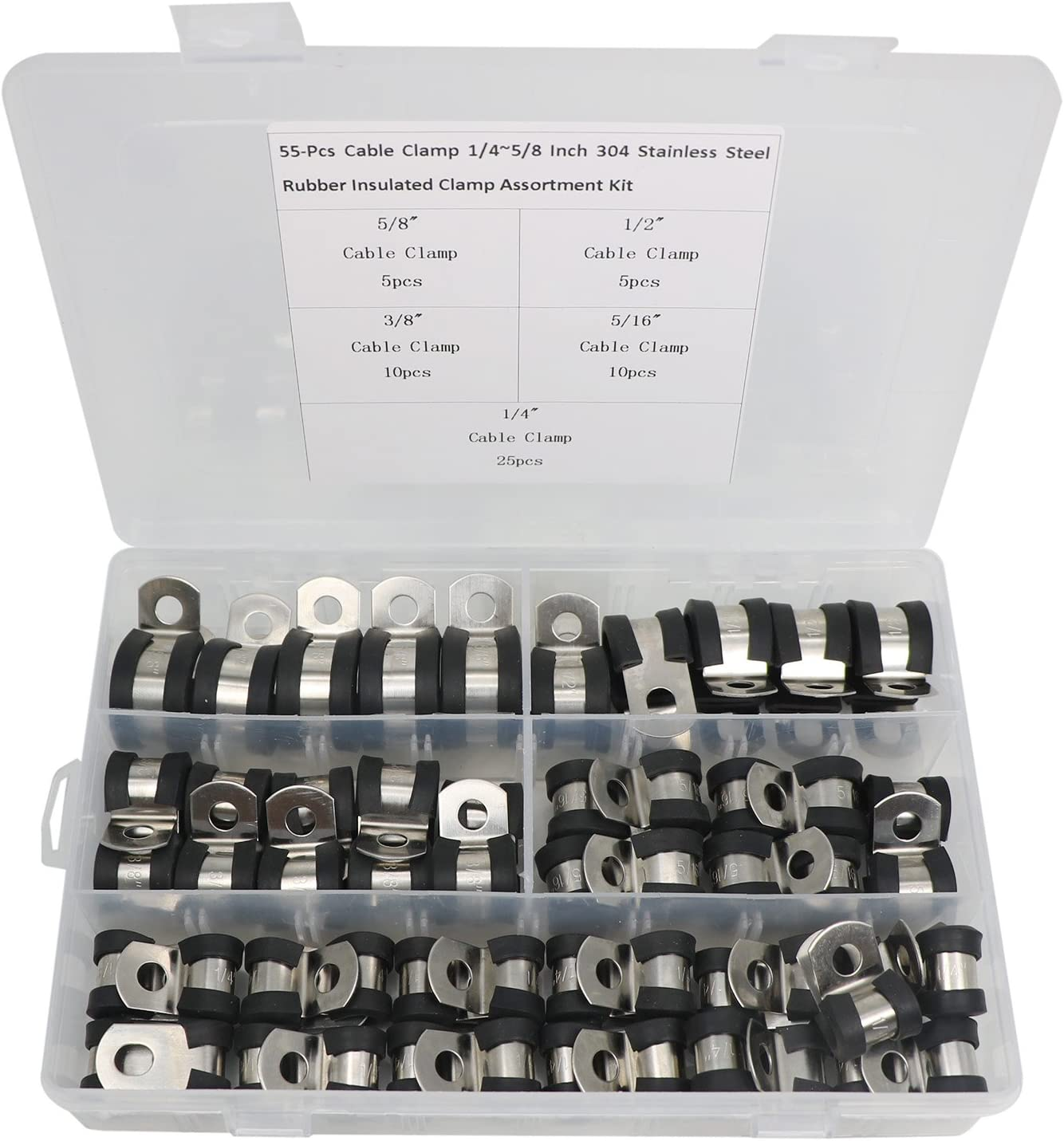 Cable Clamp Assortment Kit Tube Holder for Tube 80 PCS 304 Stainless Steel Vinyl Cable Coated Clamps in 5 Sizes 1//4 5//16 3//8 1//2 5//8 Metal Cable Clamps Pipe or Wire Cord Installation
