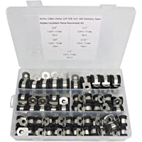 Cable Clamp 55 Pieces 304 Stainless Steel Rubber Cushion Pipe Clamps Assortment with 5 Size 1/4'' 5/16'' 3/8'' 1/2'' 5/8…