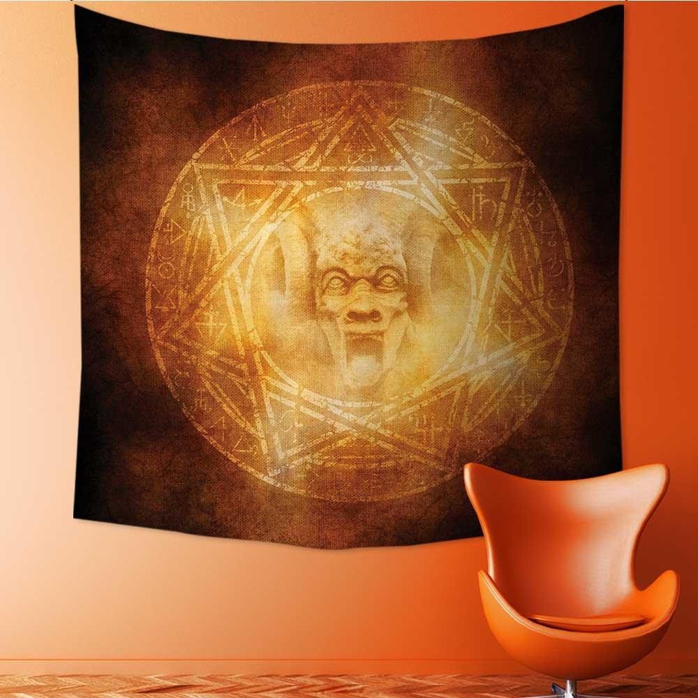 Nalahomeqq Horror House Decor Custom tapestry by Demon Trap Symbol Logo Ceremony Creepy Ritual Fantasy Paranormal Design Fabric drawing room Decor Orange 40 W x 60 L INCH