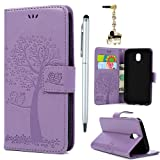 For Samsung Galaxy J5 2017 Case /J530 Case,Badalink Galaxy J5 2017 Cover PU Leather Case Wallet Embossed Tree Owl Folio Flip Case Soft TPU Magnetic Closure Cover Shockproof Bumper Cover with Card Slots & Wrist Strap for Samsung Galaxy J5 2017 Case /J530 - Purple