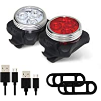 PAGAO USB Rechargeable LED Bike Light Set, Super Bright Bicycle Light, Headlight and Tail Light Set with 4 Flashing Modes, Easy To Install Cycling Safety Flashlight Best for Mountain Road and City Bicycle